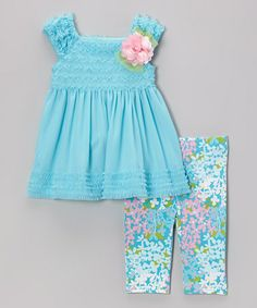 Look what I found on #zulily! Blue Lace Ruffle Dress & Leggings - Toddler & Girls by Sweet Heart Rose #zulilyfinds