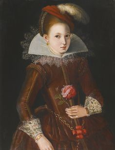 ENGLISH SCHOOL, EARLY 17TH CENTURY PORTRAIT OF A GIRL oil on panel 66 by 51 cm.; 26 by 20 1/8 in. Sotheby's catalogue