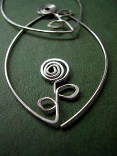 Sterling Silver wire flower hoops