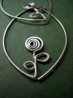 Sterling Silver wire flower hoops