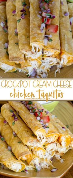 Cream Cheese Chicken Taquitos - Use your crockpot to make moist flavorful chicke. - Cream Cheese Chicken Taquitos – Use your crockpot to make moist flavorful chicken filling for cor - Yummy Recipes, Mexican Food Recipes, Yummy Food, Tasty, Jalapeno Recipes, Cream Recipes, Copycat Recipes, Ethnic Recipes, Tortilla Wraps