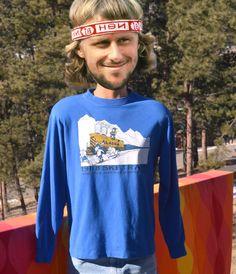 vintage 80s long sleeve t-shirt ALASKA ski train by skippyhaha