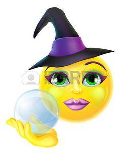 smileys: A cute Halloween emoticon emoji holding a crystal ball