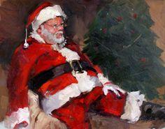 Santa Claus Painting, Sleepy Santa - Christmas Morning, x oil painting mounted canvas. via Etsy. Christmas Is Over, Father Christmas, Santa Christmas, Christmas Morning, Little Christmas, Christmas Pictures, All Things Christmas, Vintage Christmas, Christmas Holidays