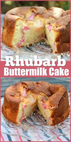 Rhubarb Vanilla Buttermilk Cake This rhubarb buttermilk cake is a delicious soft cake with the tang of buttermilk and the sharp sweetness of rhubarb. Rhubarb Muffins, Rhubarb Desserts, Rhubarb Cake, Just Desserts, Rhubarb Tea, Best Rhubarb Recipes, Apricot Recipes, Summer Desserts, Vanilla Buttermilk Cake