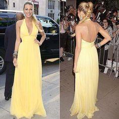 Elegent Backless Red Crapet Dresses Yellow Chiffon halter blake lively Celebrity Dresses robe de soiree Formal Evening Gowns $149.00