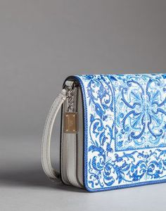 BLUE MAJOLICA PRINT TWIST LILY SHOULDER BAG - Small leather bags - Dolce&Gabbana - Winter 2015