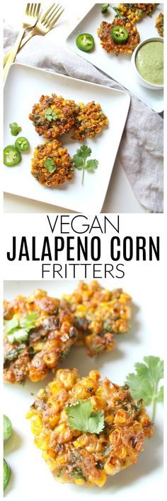 These Vegan Jalapeño Corn Fritters are crispy and packed full of flavor. Perfect as an appetizer, snack or serve over a salad for a full meal | ThisSavoryVegan.com