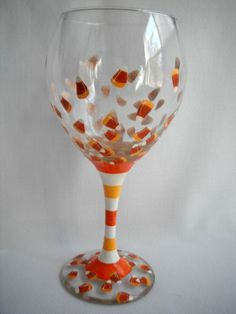 Handpainted Halloween Wine Glass  Candy by JessicaLeighDesigns, $25.00