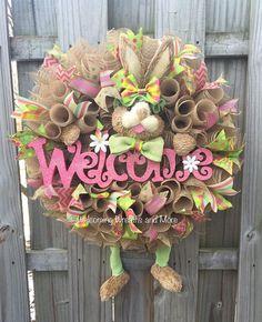 Adorable Spring Easter bunny burlap deco mesh wreath!