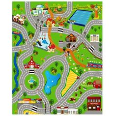 Washable Rugs Giant kids city playmat fun town cars play village farm road carpet rug toy mat