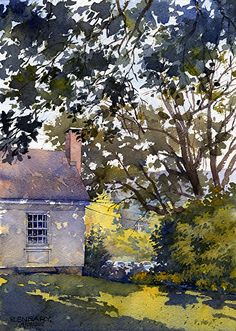 """Afternoon Shadows"" by Richard Sneary.  Watercolor"