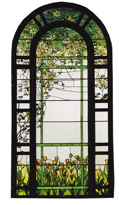 I like the cheery yellow flowers at the base of this Tiffany stained glass window