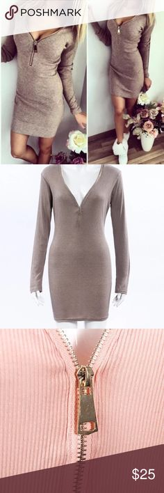 Brown sexy casual dress Cotton size 4 Dresses Midi