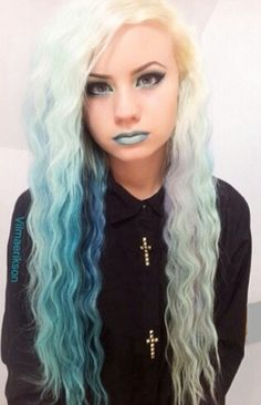 Blonde blue dyed hair