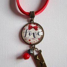 """Collier """"just love"""", cabochon bronze, bijou fantaisie"""