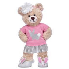 This cheerful furry friend looks as sweet as sunshine in her skirt set with flats and matching headband. Give a gift that will have them hopping for Little Mermaid Bedroom, The Little Mermaid, Small Teddy Bears, Happy Birthday Gifts, Bear Art, Friend Outfits, Build A Bear, Floral Headbands, Easter Gift
