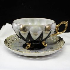 Black and White Diamond Pattern Tea Cup and Saucer Vintage Lusterware 3 curved feet Footed cup Teacup Gold trim Iridescent Opalescent by EvelynsAtticShop on Etsy Tea Cup Set, My Cup Of Tea, Cup And Saucer Set, Tea Cup Saucer, Vintage Cups, Vintage Tea, Tea Service, Deco Table, Antique China