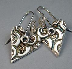 Earrings | FebraRose Designs.  Fine Silver (.999) Polymer Metal Clay, kiln fired with rainbow patina. Jewelry Crafts, Jewelry Art, Beaded Jewelry, Jewelry Ideas, Metal Clay Jewelry, Precious Metal Clay, Handmade Jewelry Designs, Heart Jewelry, Clay Earrings