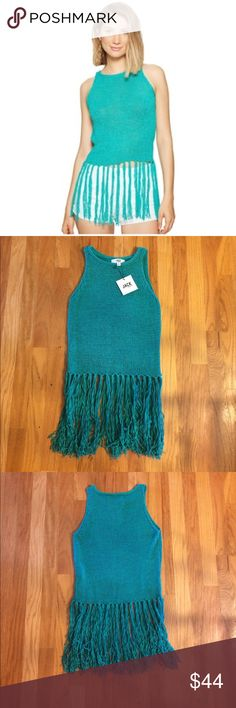 NEW Jack by BB Dakota Fringe Tank Gorgeous new teal green fringed tank sweater is a must- have statement piece. 70% cotton 30% nylon Jack by BB Dakota Tops