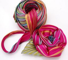 silk shibori pleated ribbon