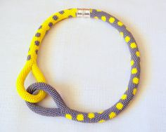 Beaded crocheted rope necklace using czech seed beads. Beaded Crochet Knot Rope Necklace - Beadwork necklace - grey and yellow dot necklace - modern