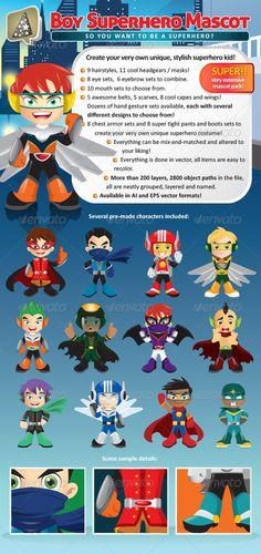 Manga Boy Superhero Mascot Creation Pack - Characters Vectors