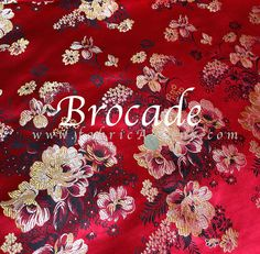 Red Floral Brocade.  Cheongsam fabric. by fabricAsians