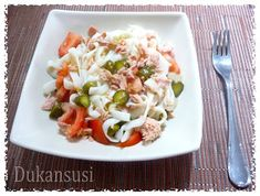 Recetas Dukan - Dukansusi: Ensalada de Tallarimis Pescanova Cocina Light, Recetas Light, Menu Dieta, Pasta Salad, Rice, Chicken, Ethnic Recipes, Food, Diabetes