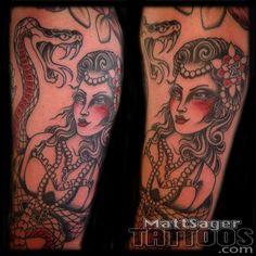 Rattlesnake woman tattoo by Matt Sager at Think Tank Tattoo. Downtown Los Angeles, Tank Tattoo, Denver Tattoo Artists, Think Tank, Tattoos Gallery, Tattoos For Women, Woman, Portrait, Groom And Groomsmen Cravats
