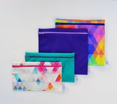 Snack Bags, Creation Couture, Reusable Bags, Triangles, Creations, Lunch, Etsy, Green, Small Sized Bags