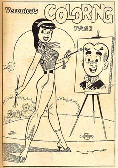 Vintage - Veronica's Coloring Page  (Found this on Tumblr. Don't know the year, but according to one of the notes from a reblogger, it's an early Dan DeCarlo work.)
