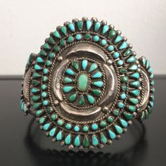 Sterling Silver Petit Point Turquoise Cuff bracelet-large