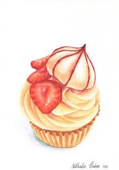 Strawberry Cupcake with Lemon Frosting by ForestArtStudio on Etsy