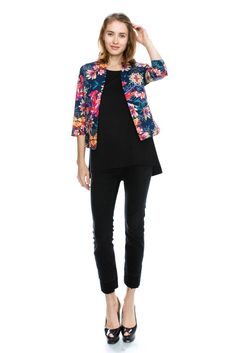 womens floral print multi-color open blazer jacket at Amazon Women's Clothing store: