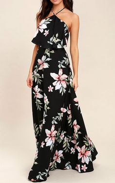 d62d424237 This floral full length dress is giving us the romantic and vintage ...