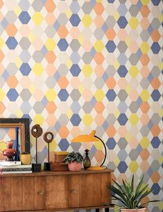 £35.79 Price per roll (per m2 £6.71), Novelty wallpaper, Carrier material: Non-woven wallpaper, Surface: Smooth, Vinyl, Look: Fine linen look, Matt, Design: Hexagons, Rhombuses, Basic colour: Blue, Cream, Yellow, Grey, Orange, Pattern colour: Blue, Cream, Yellow, Grey, Orange, Characteristics: Good lightfastness, Scrub-resistant, Low flammability, Strippable, Paste the wall