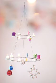Cute and simple Christmas Chandelier--maybe use the battery operated flameless candles for safety?