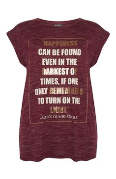 Primark - Burgundy Harry Potter Quote T-Shirt