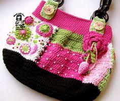 Crochet pdf pattern ladies bag Garden scene by VendulkaM on Etsy