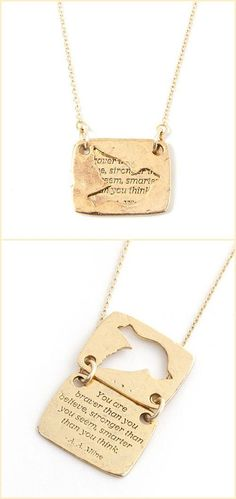 Bird Quote Necklace ~❥  you are braver than you believe stronger than you seem and smarter than you think *choice of gold or silver*: