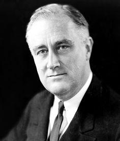 Franklin Delano Roosevelt. President van de Verenigde Staten van 4/3/1933 t/m 12/4/1945. Hij was leider van de Democratische Partij. Met het New Deal politiek pakte hij de crisis in de Verenigde Staten aan.