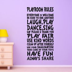 Playroom Rules Wall Decal Decor Art Sign for Childs, Child or Childrens Nursery boy or girls room Decor Quote Vinyl Sticker Mural via Etsy by chandra Kids Wall Decals, Wall Stickers, Playroom Rules, Playroom Ideas, Playroom Decor, Wall Decor, Playroom Design, Basement Ideas, Ideas Para Organizar
