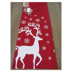 Festive Reindeer Table Runner   Red / White by celineandkate, $47.00