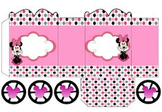 Minnie in Pink: Princess Carriage Shaped Free Printable Box. Minnie Mouse Cupcake Toppers, Minnie Mouse Party, Mouse Parties, Disney Diy, Disney Crafts, Festa Do My Little Pony, Imprimibles Paw Patrol, George Pig Party, Daniel Tiger Birthday