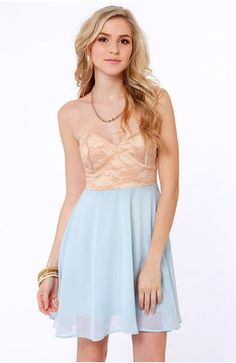 You might just want to dance once you slip into the Ta-ra-ra Bustier! Nude and Light Blue Dress! Nude lace bustier bodice with a light blue chiffon skirt. Grad Dresses, Bridesmaid Dresses, Prom Dress, Bridesmaids, Strapless Dress, Wedding Dress, Bustier Dress, Dress Skirt, Junior Cocktail Dresses