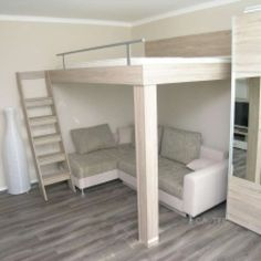 Bunk beds, Loft and suspended beds for the whole family Loft Beds For Small Rooms, Cool Loft Beds, Small Room Bedroom, Bedroom Loft, Bedroom Decor, Unique Bunk Beds, Bedroom Ideas, Loft Bed Plans, Murphy Bed Plans