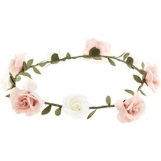 Accessorize Simple Rose Flower Crown Bando ($2.40) ❤ liked on Polyvore featuring accessories, hair accessories, hair, jewelry, hats, leaf hair accessories, floral garland, leaf garland, rose flower crown and flower crown