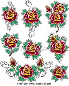 Traditional Tattoo Flowers, Spiritual Symbols, Tattoo Set, Medical Illustration, Vector Clipart, Flower Tattoos, Tattoo Images, Royalty Free Photos, Art Images