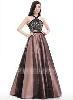 [US$ 220.99] Ball-Gown Scoop Neck Floor-Length Tulle Prom Dress With Beading Sequins